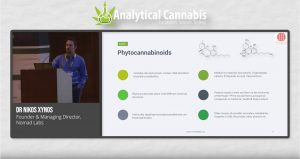 Dr Nikos Xynos, Founder & Managing Director, Nomad Labs, speaking at the Analytical Cannabis Expo Europe 2019 in London.